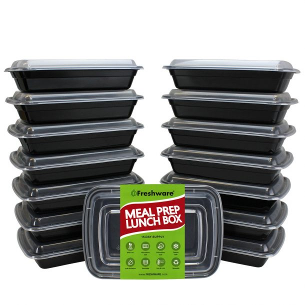 Freezer Meals Meal Prep containers with Lids - Stackable, Reusable, Microwave, Dishwasher & Freezer Safe - Meal Prep, Portion Control, 21 Day Fix & Food Storage Containers