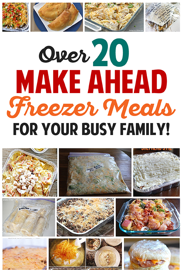 Awesome collection of over 20 make ahead freezer meals for busy families! #freezermeals #mealplanning #dinner #dinnerrecipes #recipes
