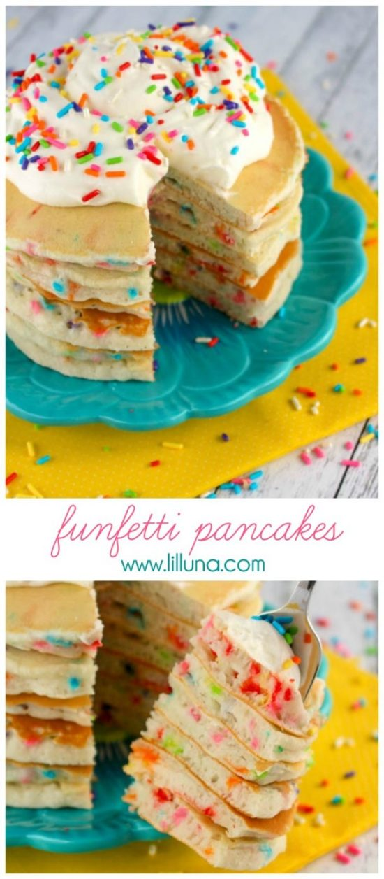 Funfetti Pancakes Recipe via lil' luna - Celebrate a birthday or special day with these super-yummy Funfetti Pancakes! Light, fluffy, and loaded with sprinkles, these breakfast goodies will make your morning extra special!