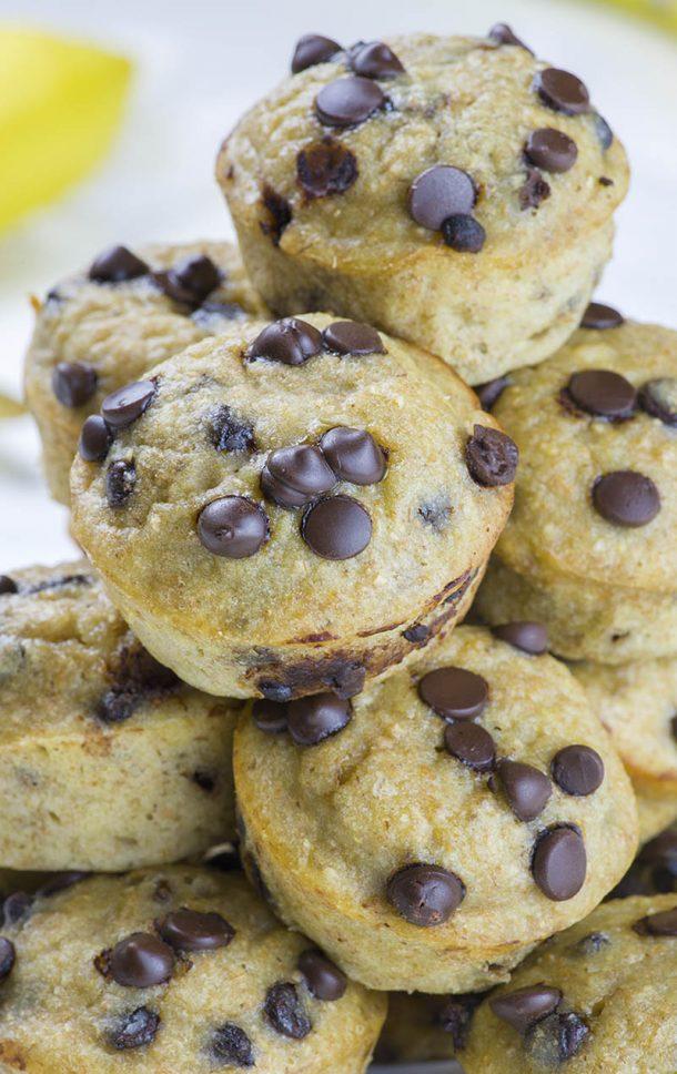 Skinny Banana Chocolate Chip Breakfast Muffins Recipe via OMG Chocolate Desserts