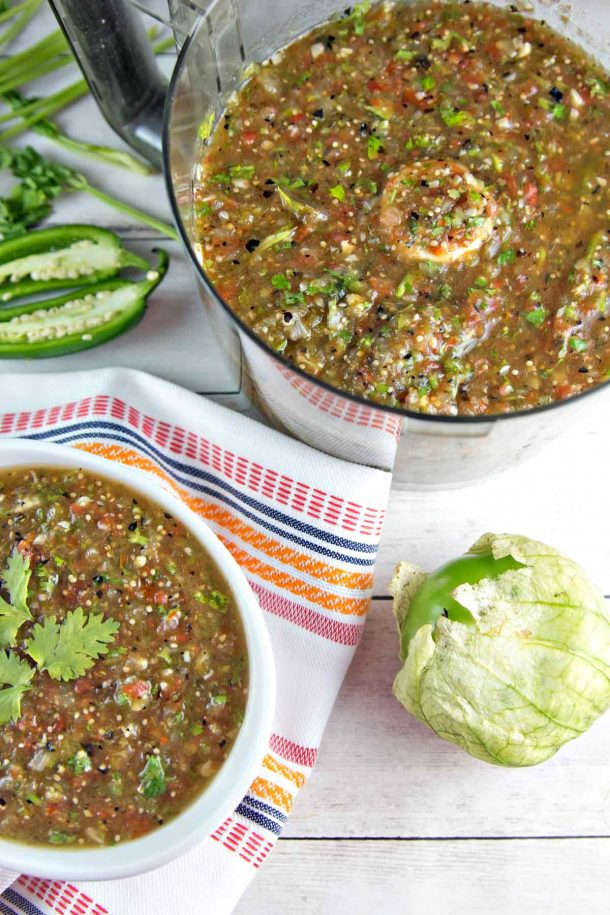 Roasted Tomatillo Salsa Verde Recipe via Bunsen Burner Bakery