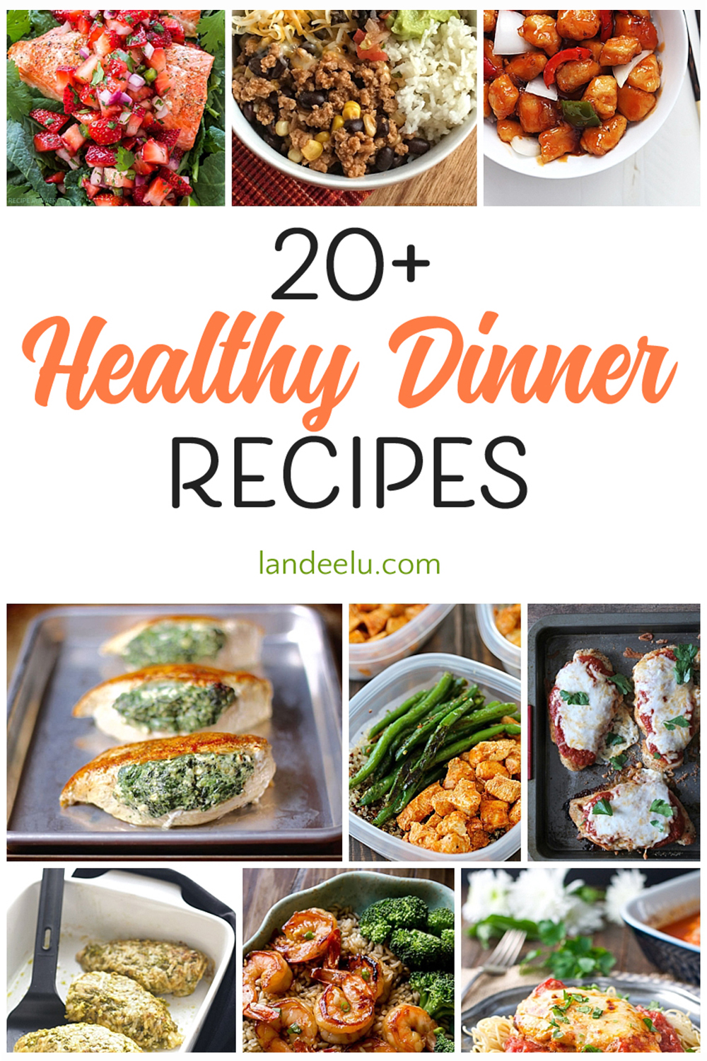 Over 20 healthy dinner recipes to try ASAP! Some family favorites lightened up and some packed with nutrients... all delicious! #healthydinners #healthyrecipes #familydinners #healthyfamilydinners