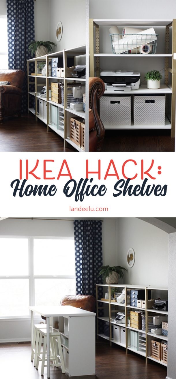Ikea office shelving Wrap Around Over 11 Linear Feet Of Chic Shelving Made From Super Cheap Ikea Storage Shelves This Landeelu Ikea Hack Ivar Home Office Shelves Landeelucom