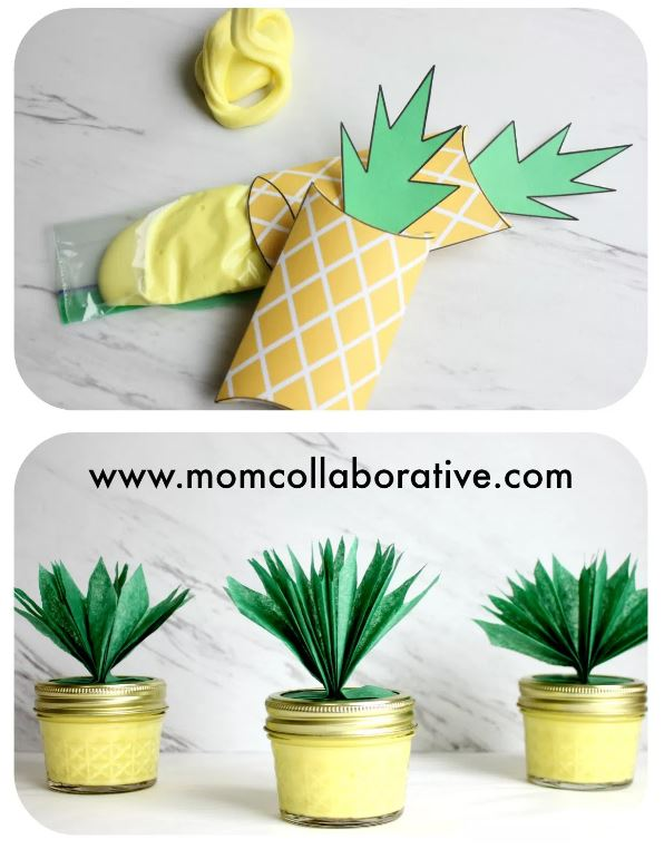 Pineapple Slime Sensory Play Party Favors in Jars or Pouches DIY via Mom Collaborative