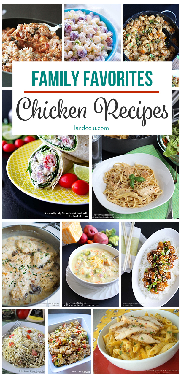 Our favorite chicken recipes all in one place! Perfect for families! #chickenrecipes #familydinner #dinnerrecipes #chicken #dinner