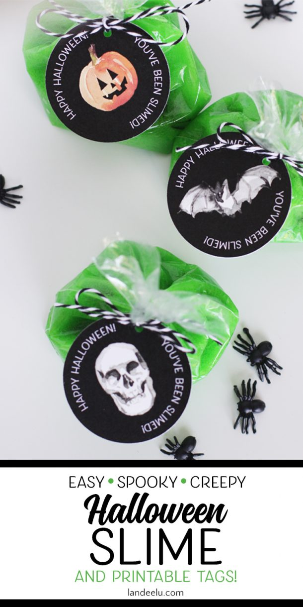 Spooky Spider Halloween Slime - Free Printable Party Favor Gift Tags (and slime recipe!) | Landeelu