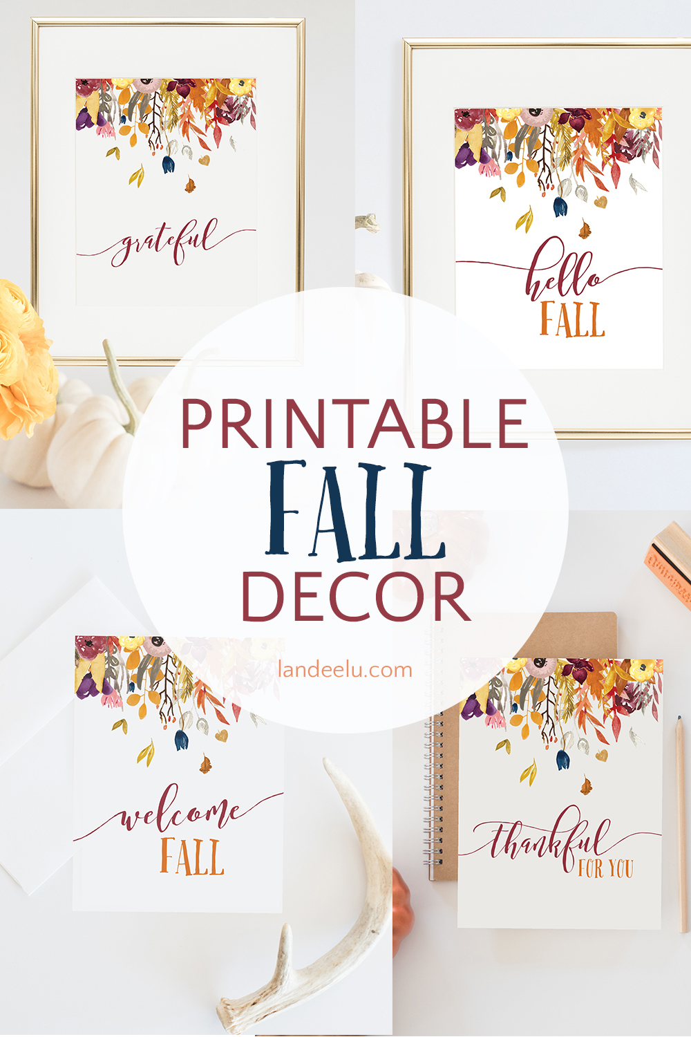Beautiful printable fall decor collection! Four different images to choose from! #fallprintable #falldecor #diyfalldecor #falldesign