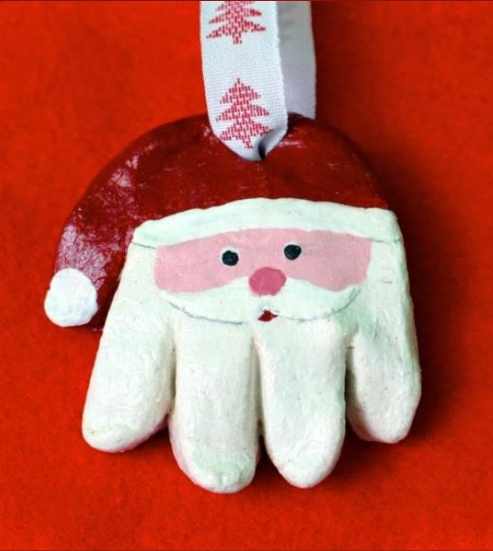 Salt Dough Santa Hand print Ornaments Kids Christmas Craft | Messy Little Monster