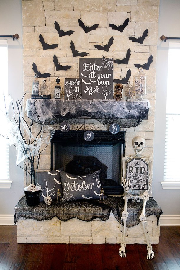 Spooky Halloween Mantel Decor Ideas | Lillian Hope Designs