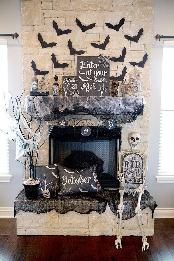 Spooky Halloween Mantel Decor Ideas | Lillian Hope Designs