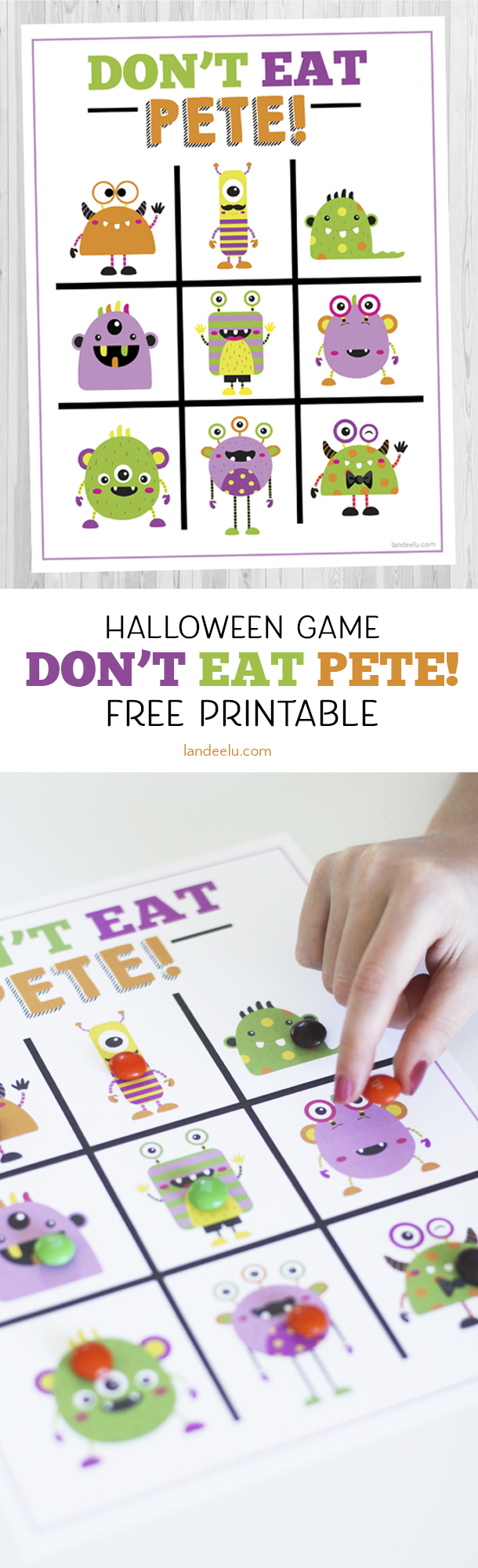 Love this monster version of Don't Eat Pete! I was looking for a Halloween game for kids to use in my son's classroom party this year. This is perfect!