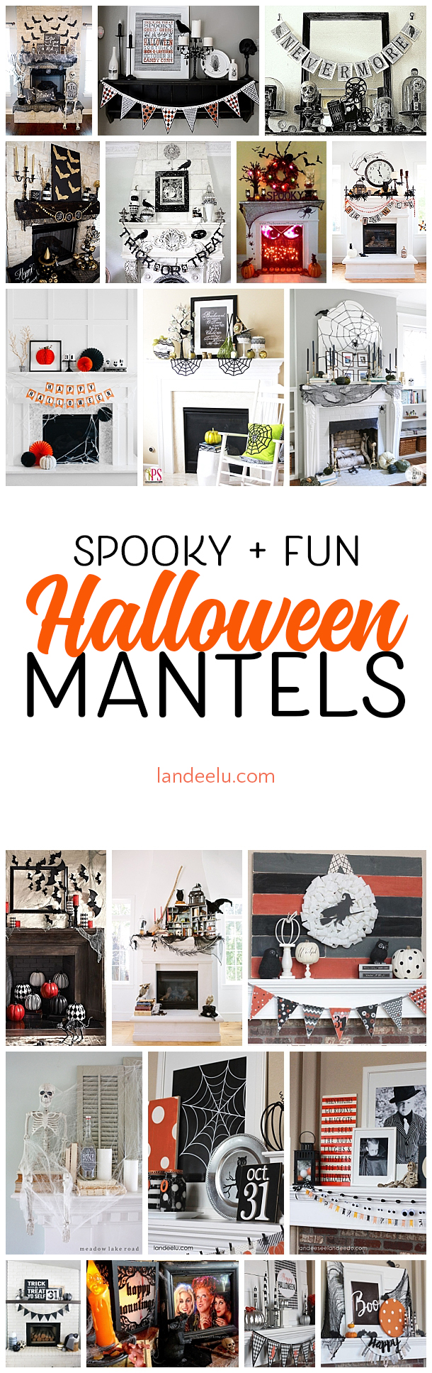 These Halloween decoration ideas for mantels are awesome!!