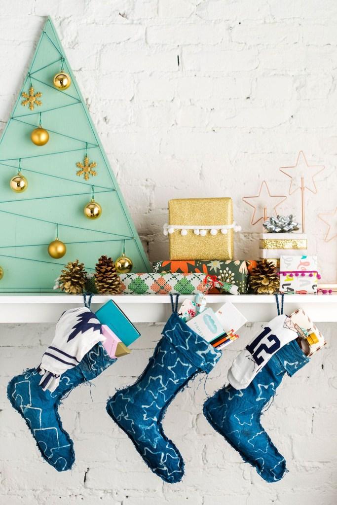 DIY Batik Indigo Christmas Stockings Tutorial | Brit + Co