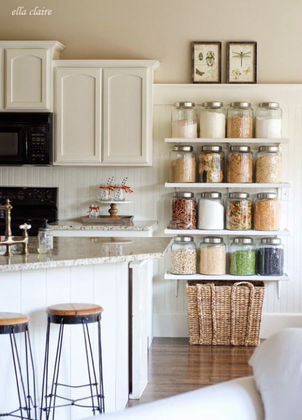 DIY Kitchen Country Store Shelves | Ella Claire Inspired