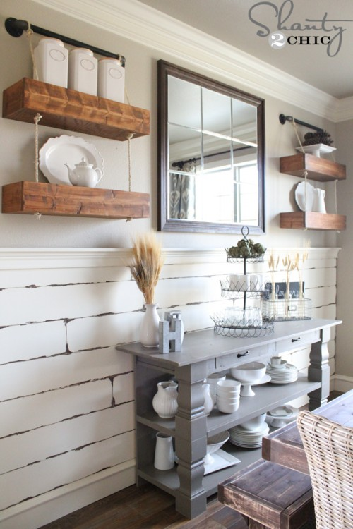 DIY Rope and Pipe Floating Shelves | Shanty 2 Chic