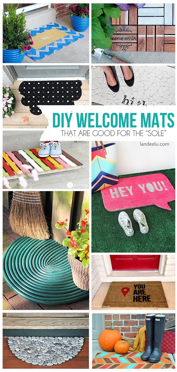 DIY Welcome Mats | landeelu.com Make your doormat exactly how you want it! Lots of inspiring ideas here! #welcomemats #DIYwelcomemat #frontporch #diycraft #homedecor