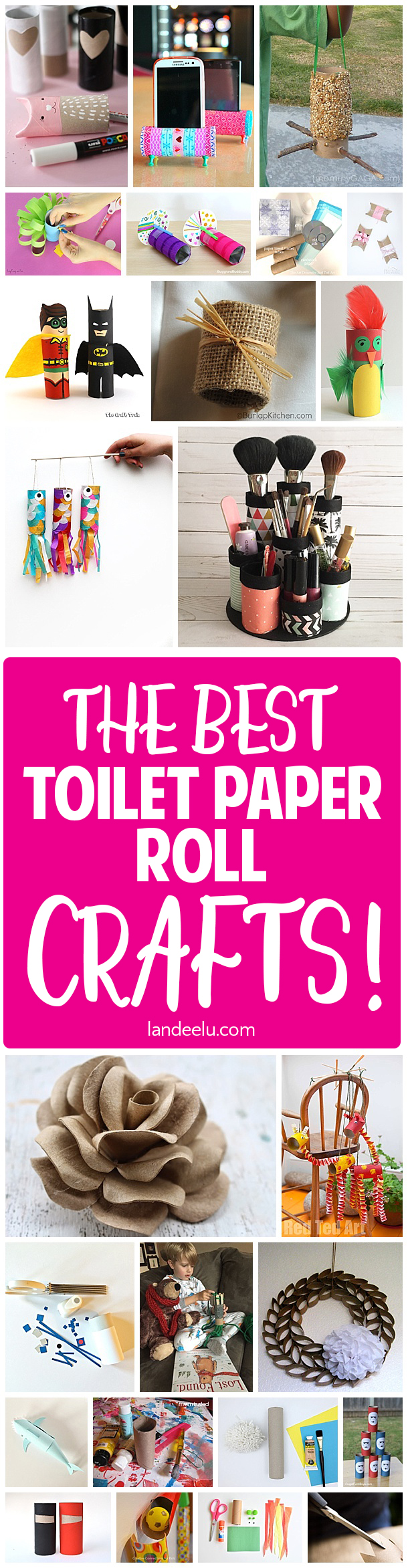 Empty toilet paper rolls are so useful and fun in crafting! Lots of awesome toilet paper roll crafts in this post! #easycrafts #kidscrafts #toiletpaperrolls #upcycle