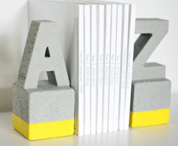 Faux Concrete DIY Bookends | DIY Candy