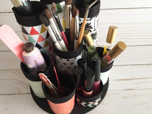 Paper Towel Tube Makeup Organizer | Cathie Filian