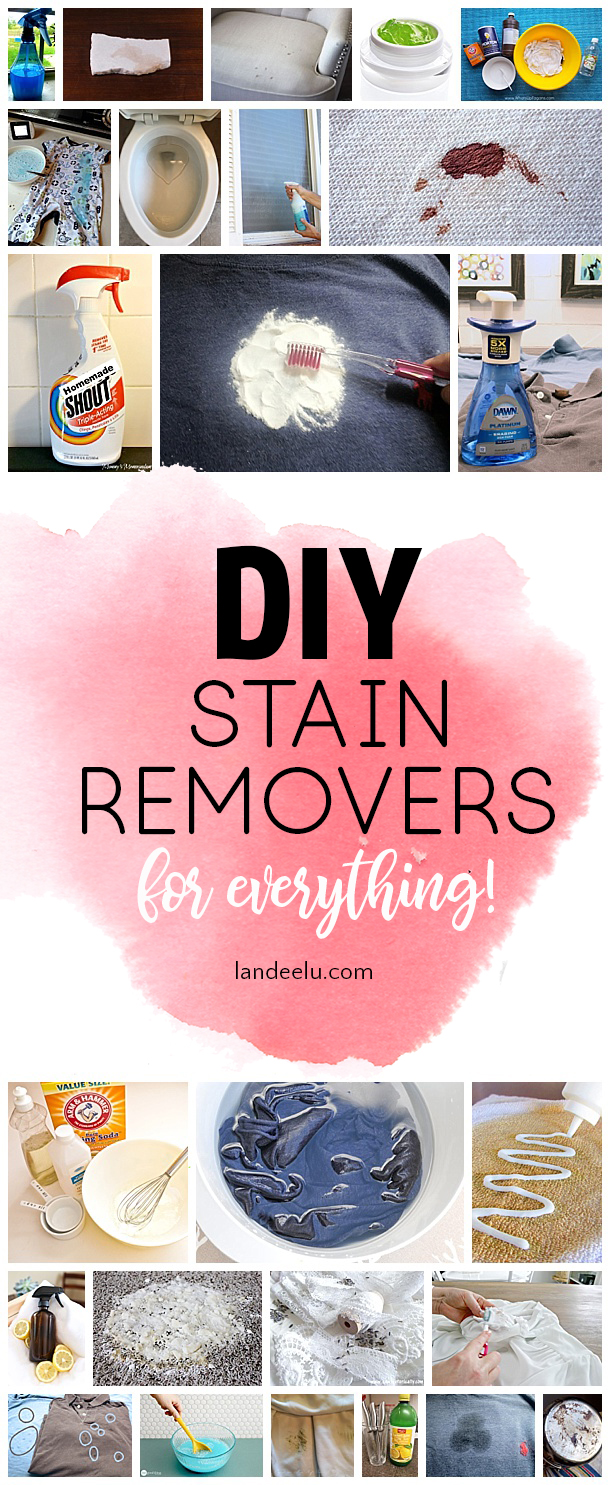 So many awesome DIY stain removers recipes to easily and safely remove stains from anything! Great collection. #stainremover #stainremovertips #diystainremover #cleaningtips
