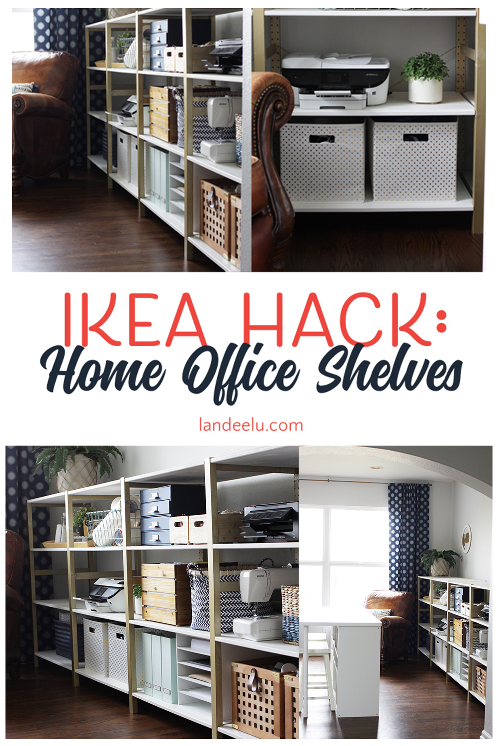 Over 11 linear feet of chic shelving made from super cheap IKEA storage shelves! This is an awesome IKEA hack. #ikeahack #easyshelving #officeshelves #storageshelves