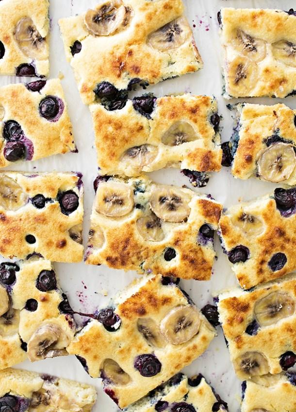 Sheet Pan Banana Blueberry Pancakes | Hello, Wonderful