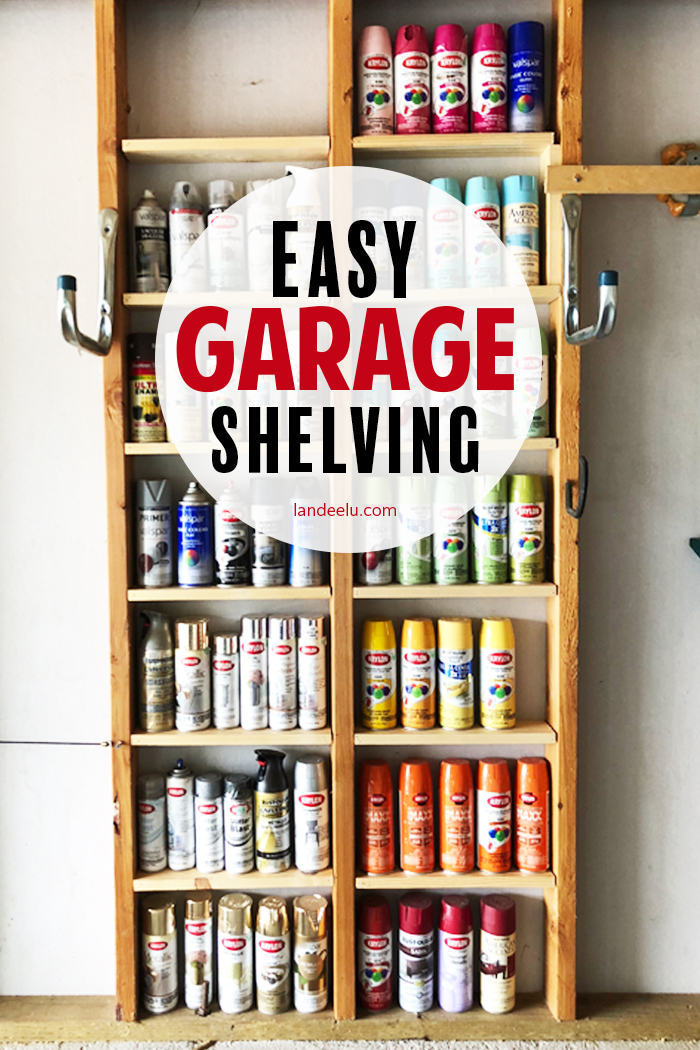 No need to take up any extra space in your garage with this clever and easy garage shelving for your spray paint cans! #garageorganization #garageshelving #diyshelving #spraypaint #organizingideas #organization