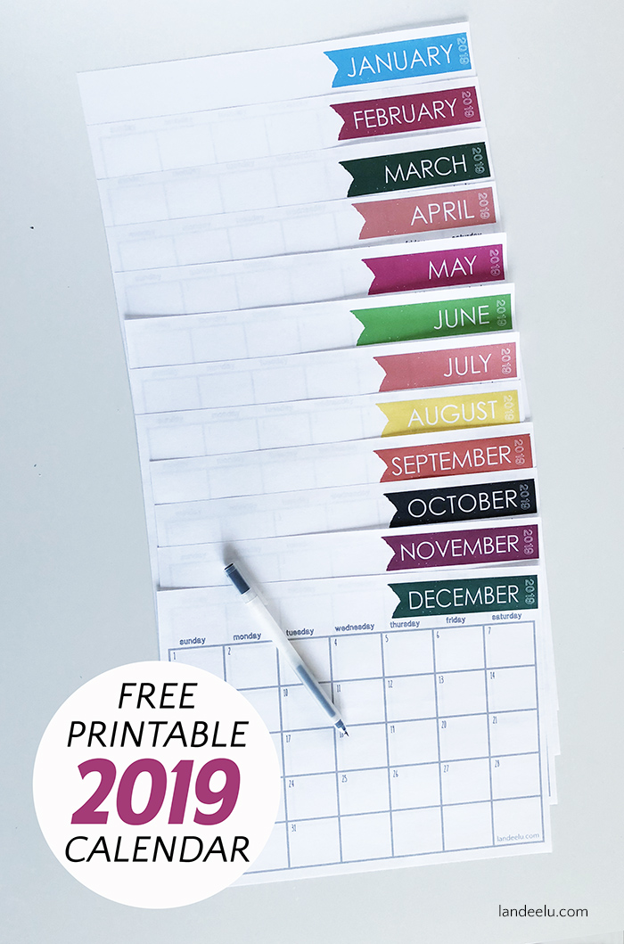 Download and print this cute and free printable 2019 calendar and get your time organized and stay on track! Easy to print and use! #freecalendar #2019calendar #printablecalendar #calendar2019