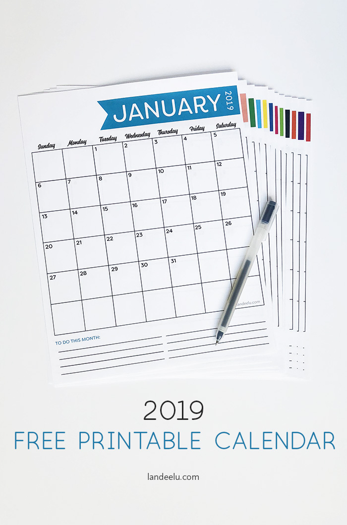 graphic regarding Vertical Calendar Printable identified as Cost-free 2019 Printable Calendar -