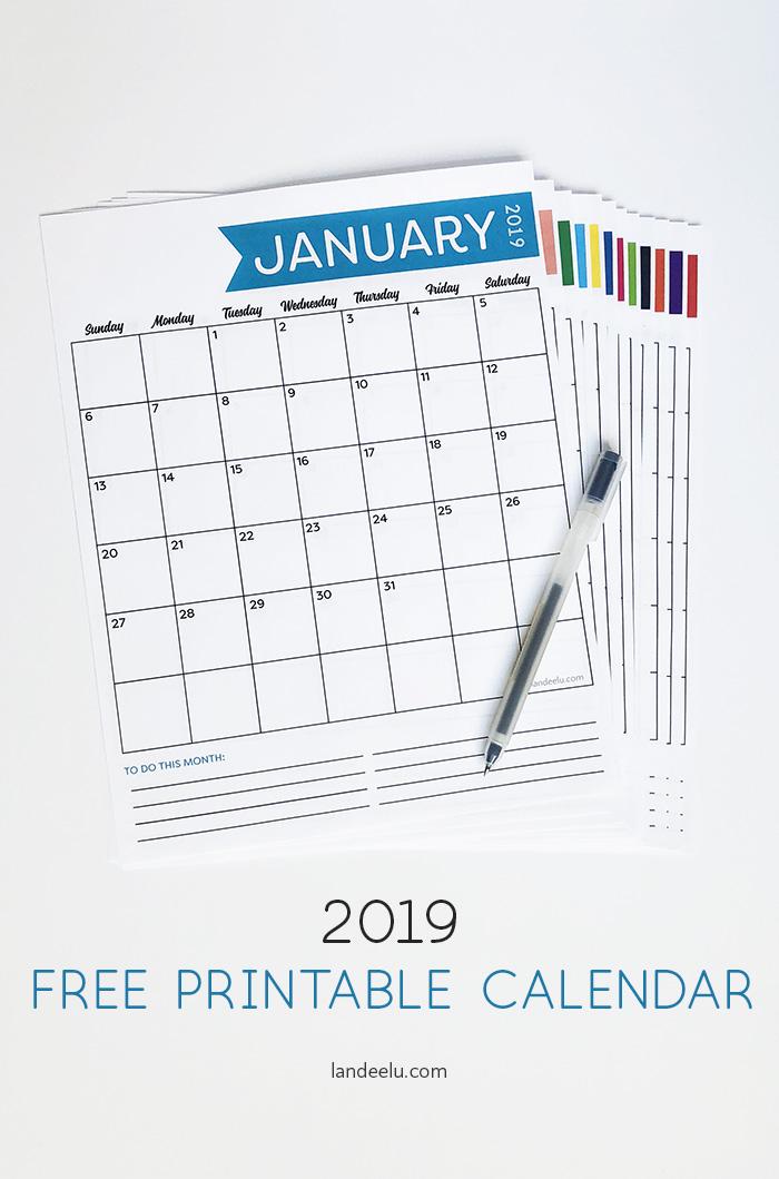 Free 2019 Printable Calendar Landeelu Com