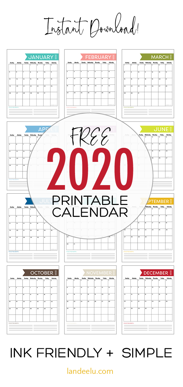 A simple free printable calendar for 2020! Ink-friendly and simple cute design for all your needs. #2020calendar #freeprintablecalendar #freecalendar #organization #freeprintable