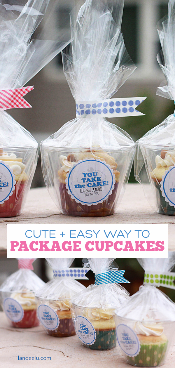 Solving all of our cupcake packaging problems! Darling way to wrap up cupcakes and hand them out! #cupcakes #cupcakepackaging #smallgift #packaging