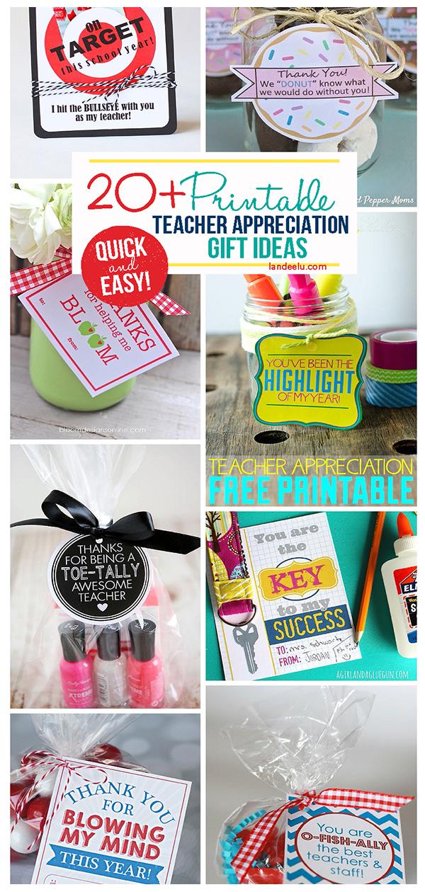 Over 20 amazing Printable Teacher Appreciation gift ideas! So easy and cute! #teacherappreciation #teachergifts #teachergiftideas #printableteachergifts