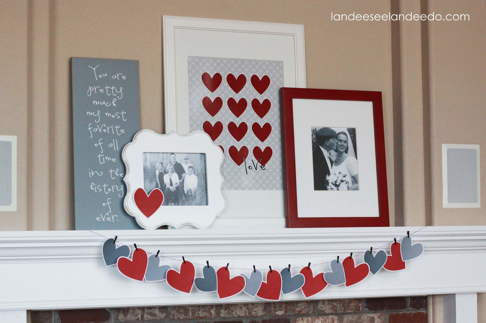 Valentineu0027s Day Mantel Decor   DIY Garland And FREE PRINTABLE. In Addition  To Putting Up A Family Photo And Pulling Out A Wedding Photo, I Made An  Easy ...