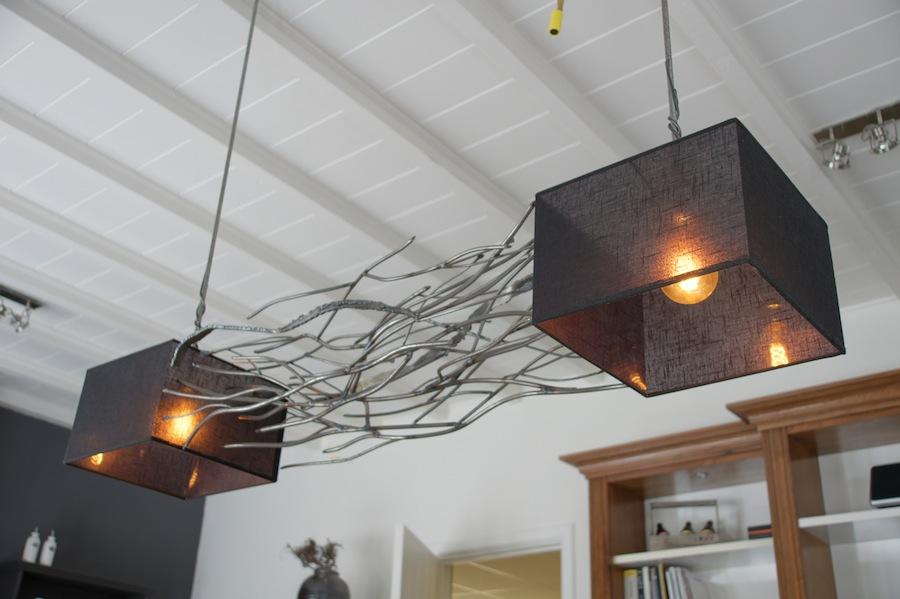 Ruige design hanglamp met 2 kappen