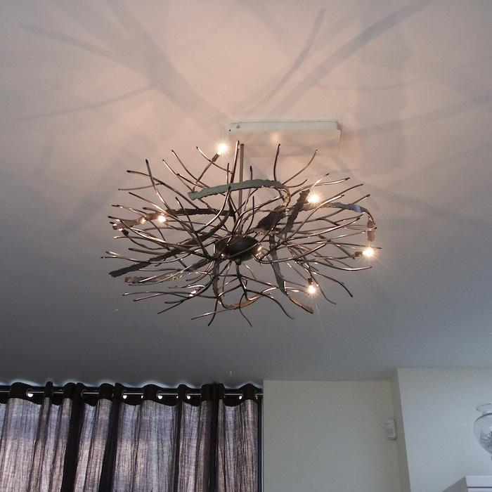 Ruimtelijke Design Plafondlamp wirwar van grijs blank ijzer