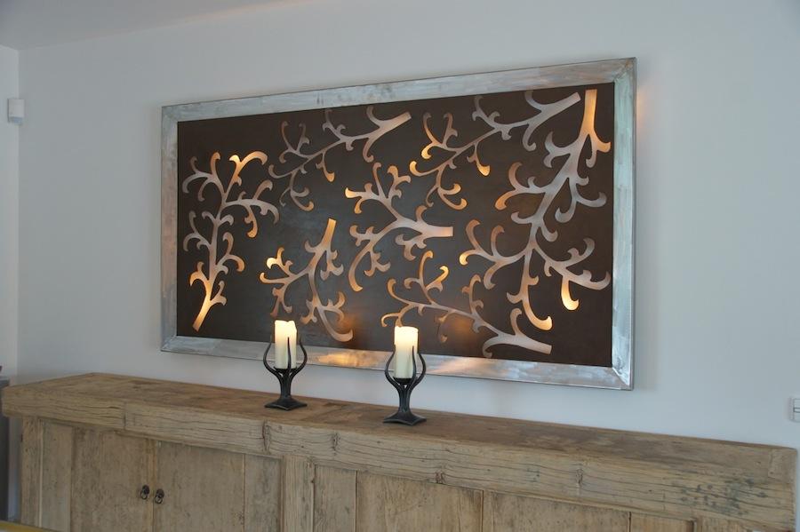 Design Wandlamp schilderij takken bladeren roest bruin