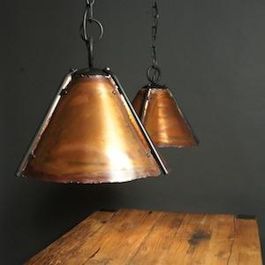 Hanglamp koper stamtafel smeedijzer ketting kap snooker