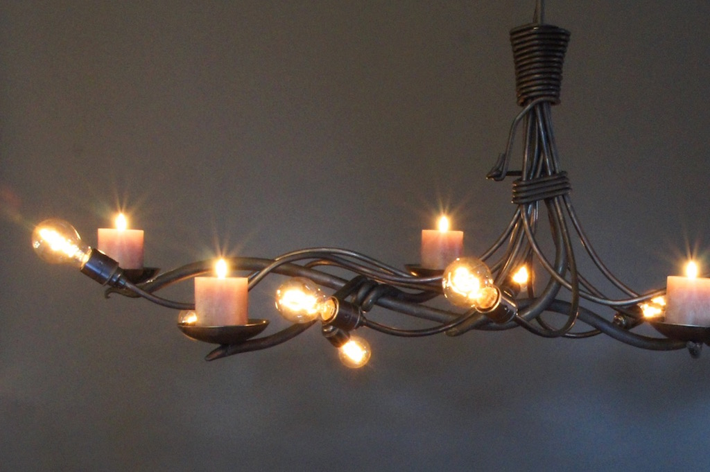 Kroonluchter Hanglamp met kaarsen  landelijk