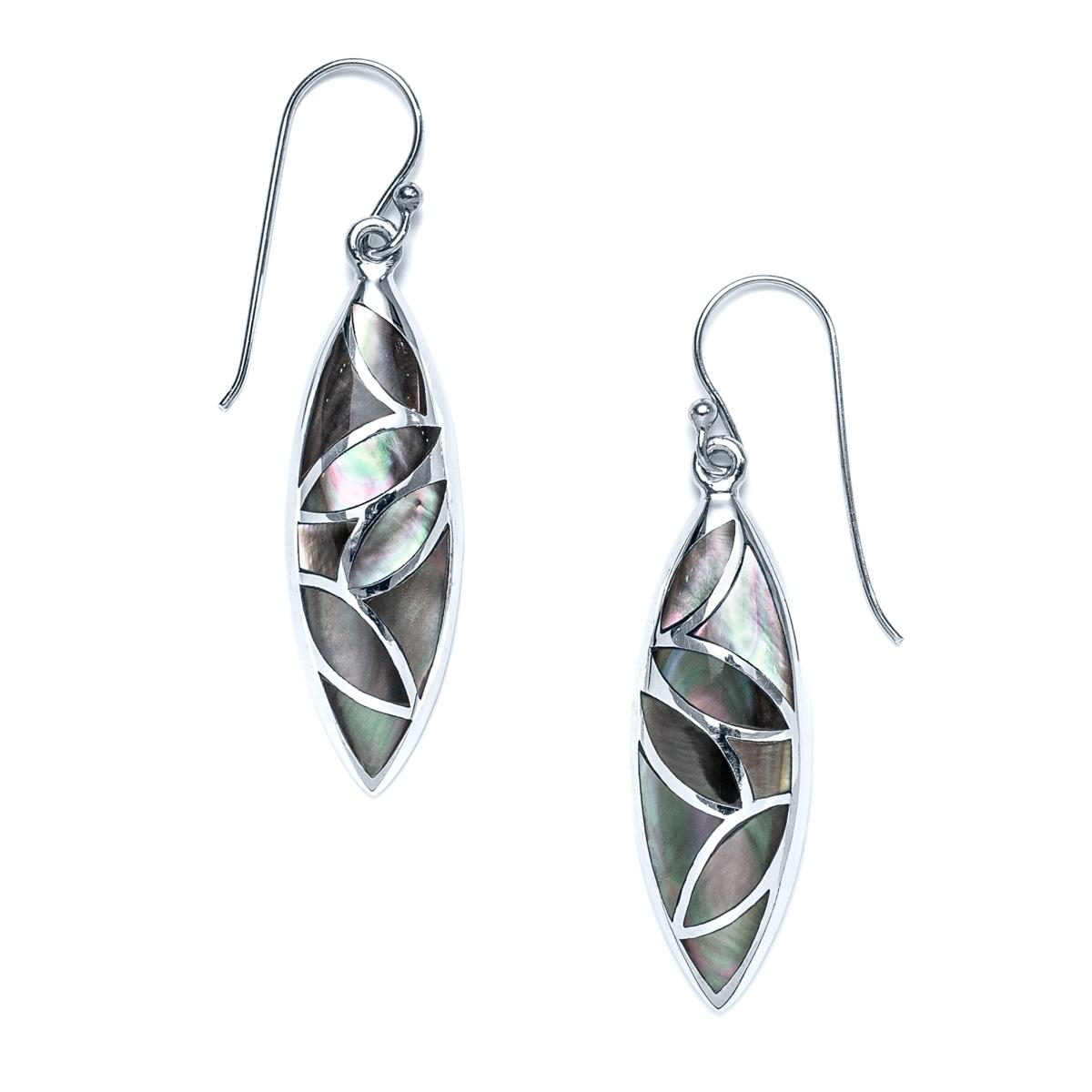 Dark Mother of Pearl Petal Earrings in Sterling Silver