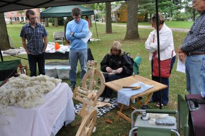 Spinning demonstration at the Wool Frolic