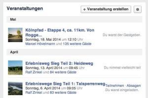 """Jeder kann eine Veranstaltung zum """"wandern und radeln in und um Köln"""" selber anlegen"""