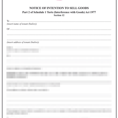Notice of intention to sell tenants goods