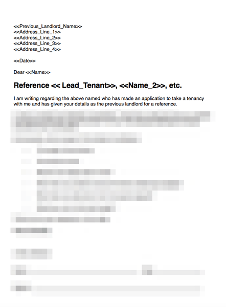 Previous landlord reference template