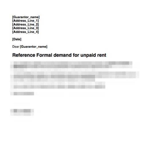 Guarantor rent demand first letter
