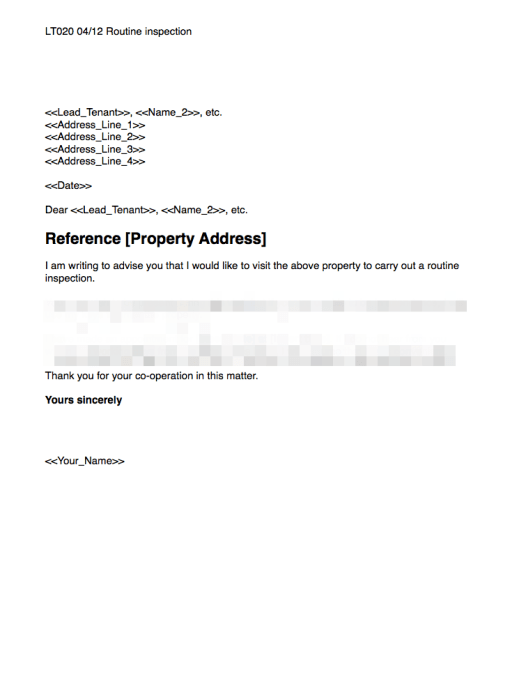 Word Routine inspection letter for landlords and agents