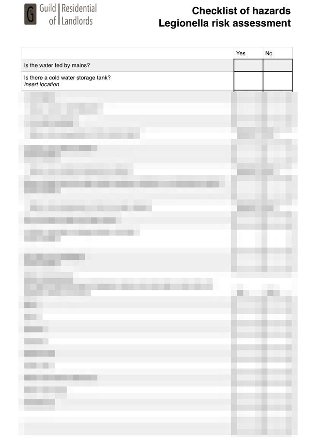 Tenants Information Leaflet Control Of Legionella Grl Landlord