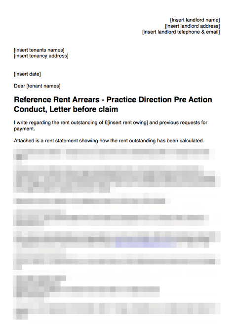 Pre action conduct letter - rent arrears