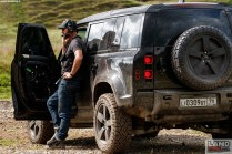 Behind the scenes of Stunt Coordinator Lee Morrison with the New Land Rover Defender featured in No Time To Die _05