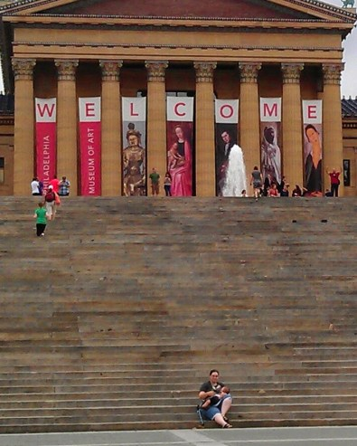 breastfeeding on the Rocky steps